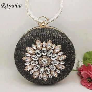 Rdywbu Circle Flower Diamonds Straw Weave Evening Bag 2017 Rhinestone Round Party Clutches Wedding Purse Club Shoulder Bag B426