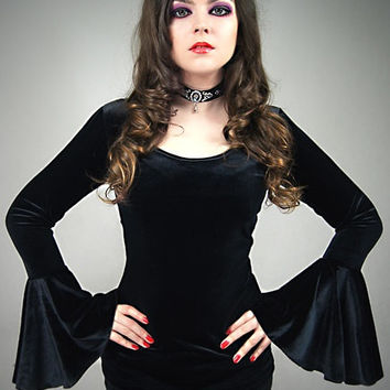 Velvet blouse black huge sleeves goth vampire lace gothic black