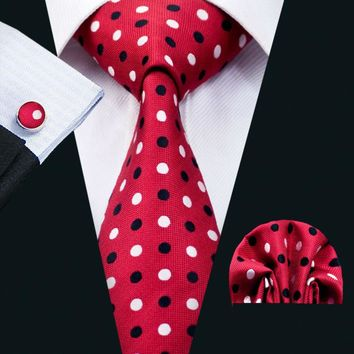 LS-1400 Barry.Wang Classic Men`s Tie Red Polka Dot 100% Silk Tie Hanky Cufflinks Set For Men Formal Wedding Party Groom Business