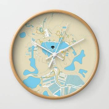 animal kingdom map Wall Clock by studiomarshallarts