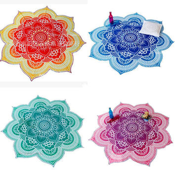 Glorious Flower Shape Indian Mandala Tapestry Wall Hanging Beach Throw Towel Hippie Bedspread Gypsy Yoga Mat Blanket 150cm