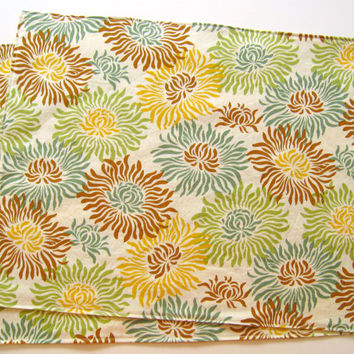 Large Cloth Placemats - Set of 2 - Green Teal Beige Brown Gold Mums -  Reversible