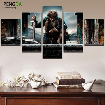 Canvas HD Printed Painting For Living Room Wall Art Frame Modern Artworks 5 Panel Movie Poster Lotr Hobbit Picture Decor PENGDA