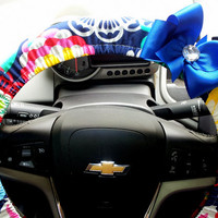 Mod Flowers Steering Wheel Cover with Bow