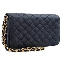 Premium Leatherette Quilted Chain Wristlet Wallet Purse Clutch Case Cover for Apple iPhone SE, 5, 5s - Black