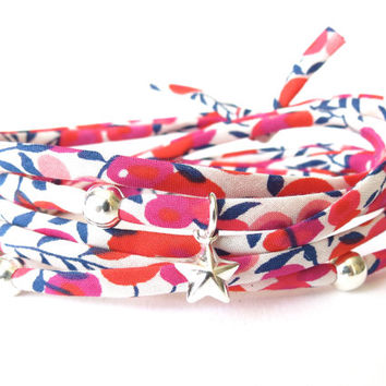 Liberty of London fabric wrap bracelet, 925 Sterling silver charms, gifts for best friend, florals in fuchsia, fabric jewelry