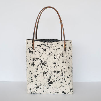 READY TO SHIP Splatter Print Tote in Ink, Anna Joyce, Canvas, Leather