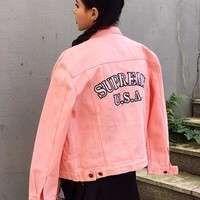 Supreme 16ss Pink Denim Trucker Jacket