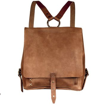 Small Handmade Leather Backpack - Cognac