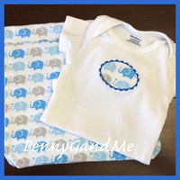 Elephant Baby Gift Set ~ Personalized Elephant Burp Cloths ~ Matching One-piece!
