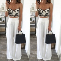 2017 New Women Wide Leg Pants Pantalones Mujer Summer Casual Trousers High Waist Dance Party Pant La