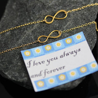 Mothers and Daughters Gold INFINITY Necklace Set. Love You forever . Mothers day, By MonyArt