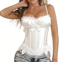 White with Bow Tie Ruched Satin Corset