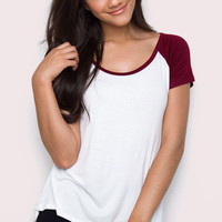 Unwind Baseball Top - Burgundy