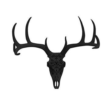 Large Carved Deer Head Skull | Faux Taxidermy | Black Resin