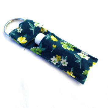 Blue Country Flowers Chapstick Keychain - Blue Green Flowers Lip Balm Holder Cozy