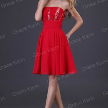 Homecoming Sweet Bridesmaid Evening Party Prom Cocktail Chiffon Short Dress Red