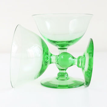 Green Champagne Coupe Glasses