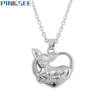Lovely Chihuahua Dog Doggie Heart Pendant Necklace Cute Puppy Dog Lover Fashion Animal Jewelry Kids Birthday Gifts