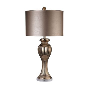 D2771 Copper Ribbed Tulip Table Lamp - Free Shipping!