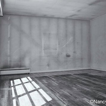 Photo, Living Room, Empty House, Norfolk, Virginia, interior image, home decor, mid century modern, fine art architectural photography print