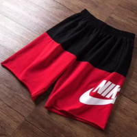 Nike men's trousers summer sweatpants black and white five pants shorts F0641-1 black+red