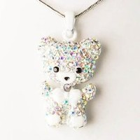 Alilang Iridescent Aurora Borealis Colored Rhinestones Cute White Teddy Bear Pendant Necklace