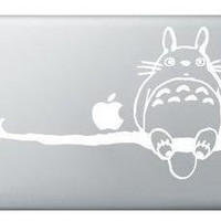 White Totoro On Branch MacBook Apple Decal Sticker Skin