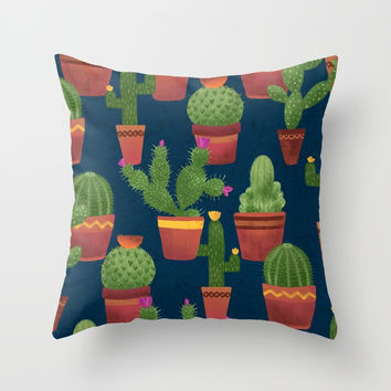 Terra Cotta Cacti Throw Pillow by Noonday Design