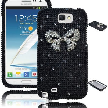 Samsung Galaxy Note 2 Black Diamond Bling  Case  Silver  Bow Cover