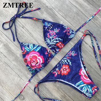 Triangle Bathing Suit Summer Swimwear Women Bikini Swimsuit Beach wear Micro Bikini Tassel Bandage Set