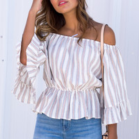 Praline Off The Shoulder Ruffle Top - Beige