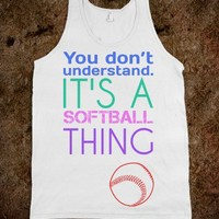 softball thing-Unisex White Tank