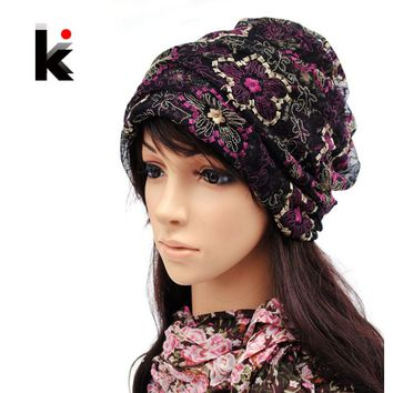 Free shopping 2017 Spring and Autumn fashion mercerizing Lace pullover can cross hair hat turban beanie hats for women