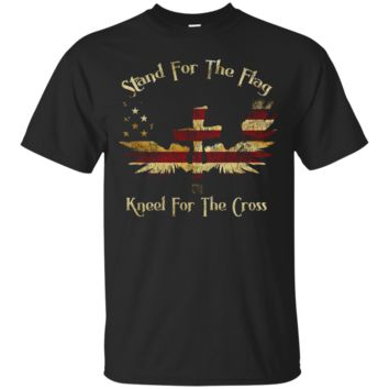 Patriotic Stand For The Flag Kneel For The Cross T Shirt