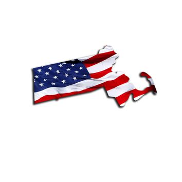 Massachusetts Waving USA American Flag. Patriotic Vinyl Sticker