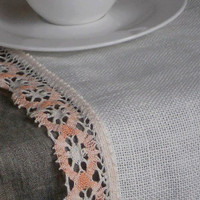 Linen table runner ivory burlap runner with pink linen lace all around in vintage cottage style