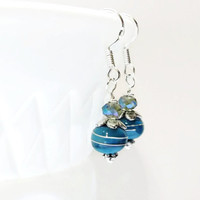 Teal Sterling Silver Earring Dangles,Teal Czech Sterling Silver Earrings,Artisan Lampwork Bead Earrings
