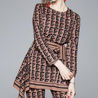 FENDI Fashion Women Personality Print Long Sleeve Irregular Top Pants Set Two-Piece