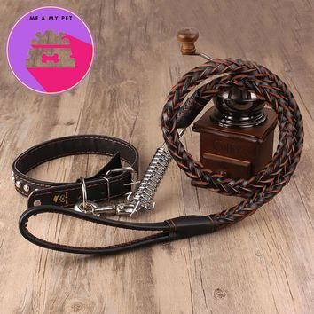Top Quality Leather for dogs 13~50kg Pet Dog Collar Leash Fashion Designed Dog Leash Strap Rope Traction Pet Harness Leash Lead