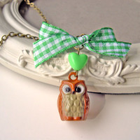 Little owl necklace with green heart  bow kawaii