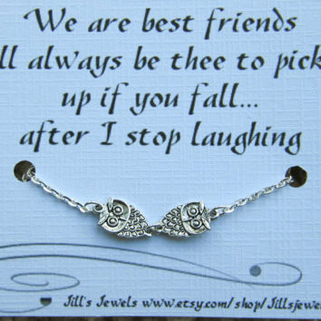 Funny Frienship Small Owl Anklet and Friendship Quote Card- Bridesmaids Gift - Friends Forever - Quote Gift