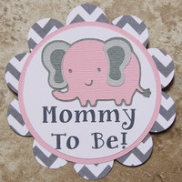 Elephant themed button pin pink-grey chevron- Customizable