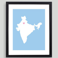 My Heart Resides In India Art Print - Any City, Town, Country or State Map Customized Silhouette Gift