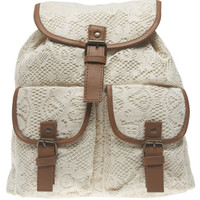 Faux Leather Trim Crochet Backpack | Wet Seal