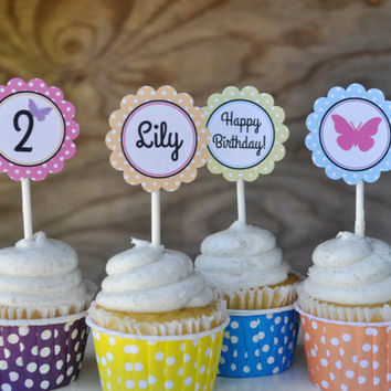 Bright Polka Dot Butterfly Birthday Party Cupcake Toppers