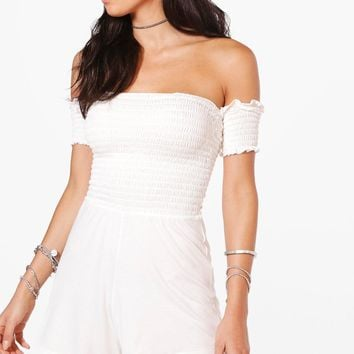 Monika Shirred Off The Shoulder Playsuit | Boohoo