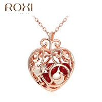 ROXI Necklace Women Rose Color Lovely Heart with Red Beads Inside Pendant Vacation Gifts Cute Girls Necklace Pendant