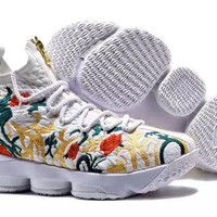 DCCKL8A Jacklish Kith X Nike Lebron 15 Embroidered Floral Prints For Sale