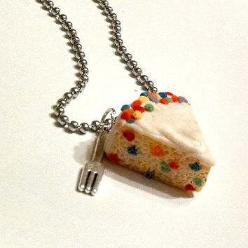 Vanilla Cake with Rainbow Confetti Sprinkles and Fork Necklace, Polymer Clay Food